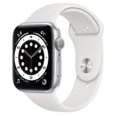 Apple Watch M00D3 Series 6 44mm Silver Aluminum Case With White Sport Band + GPS