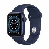 Apple Watch Series 6 MG143 40mm Blue Aluminum Case with Red Sport Band + GPS
