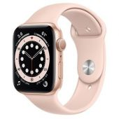 Apple Watch M00E3 Series 6 44mm Gold Aluminum Case with Pink Sport Band + GPS