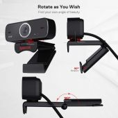 Redragon GW600 720P Webcam with Built-in Dual Microphone 360-Degree Rotation - 2.0 USB Skype Computer Web Camera