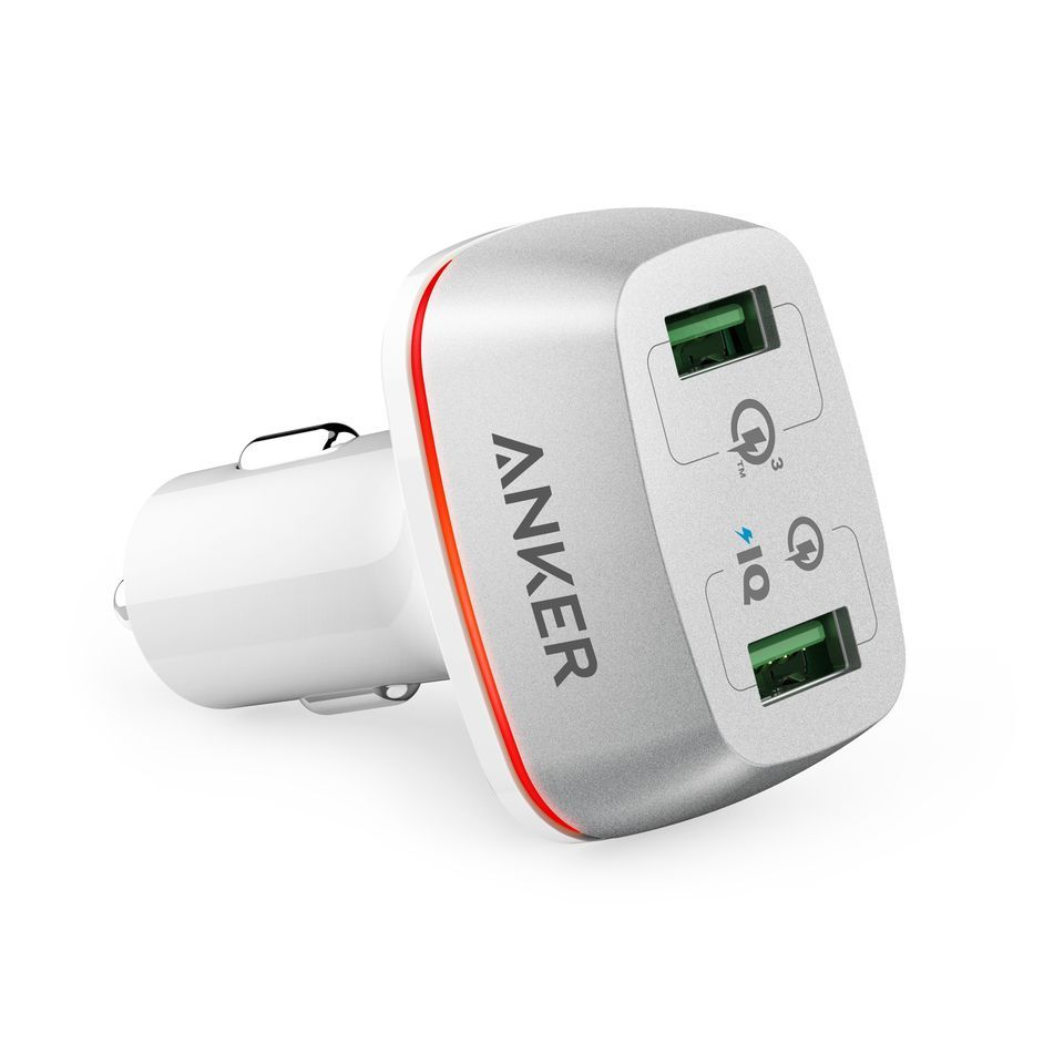 Anker Dual Port Car Charger + 2 Without Cable QUICK CHARGE With Official Warranty (A2224H12)
